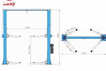 Kích thước cầu nâng 2 trụ – Thông số kỹ thuật cầu nâng ô tô 2 trụ